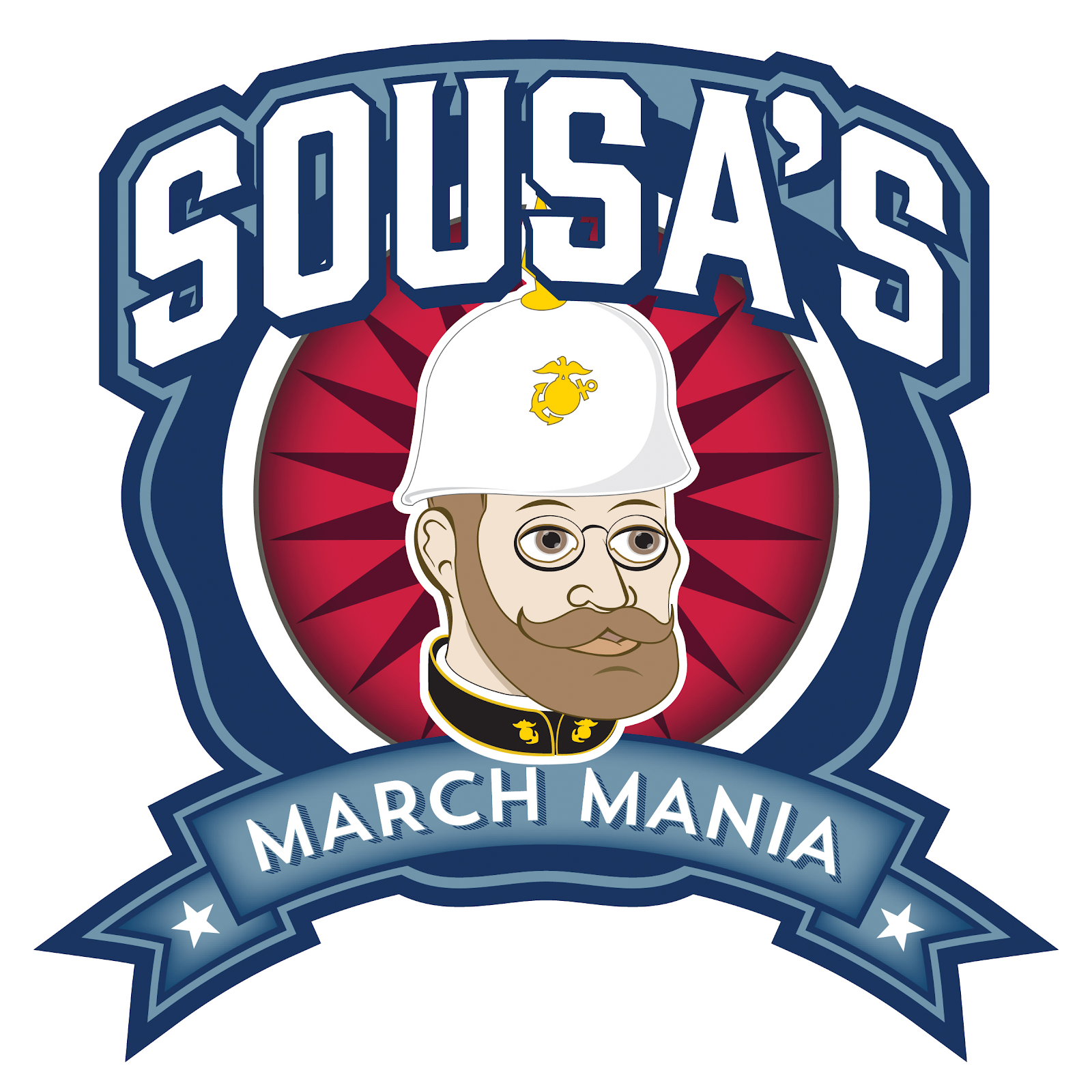 "graphic icon depicting a marching band member with brown beard and white hat with text surrounding them that reads ""Sousa's March Mania"""